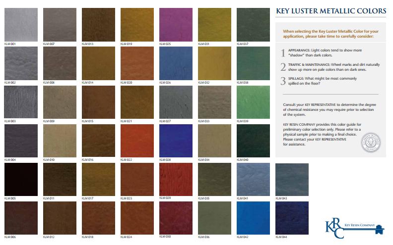 color chart for metallic epoxies