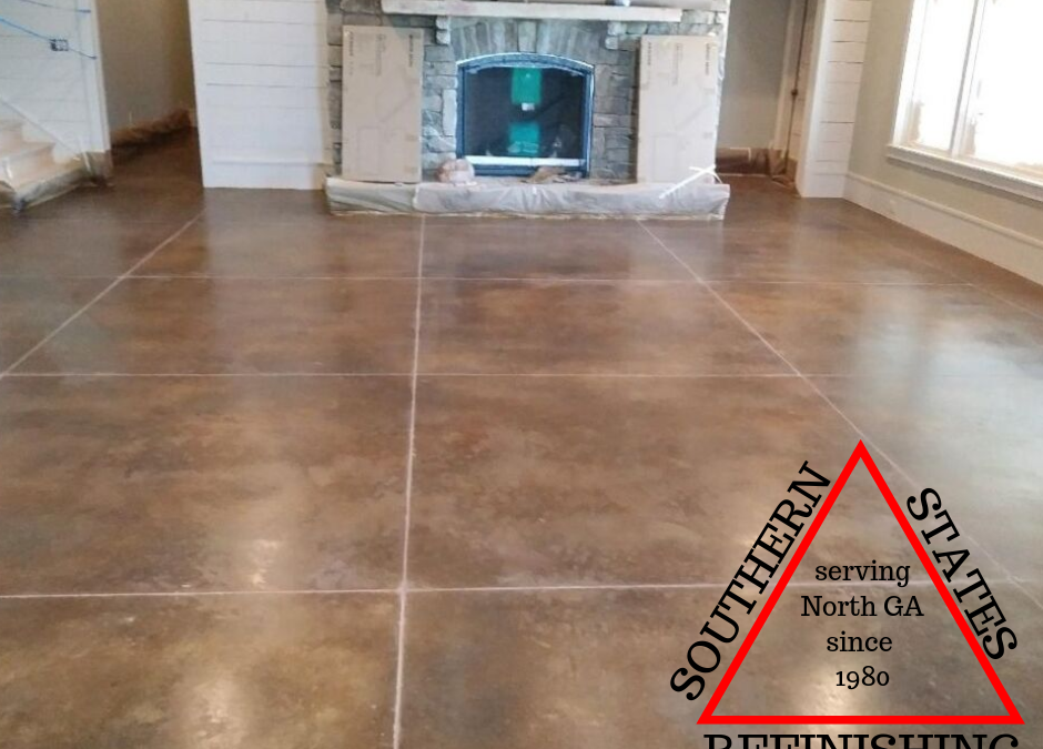 After Picture of Stained Concrete Basement in Gainesville, Georgia
